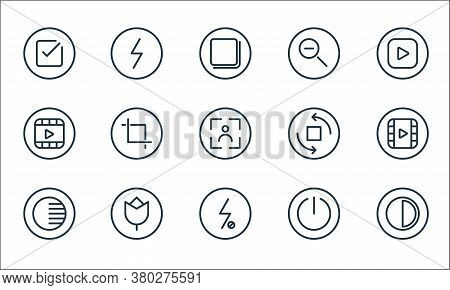 Camera Line Icons. Linear Set. Quality Vector Line Set Such As Contrast, Flash Off, Adjust, Power Of