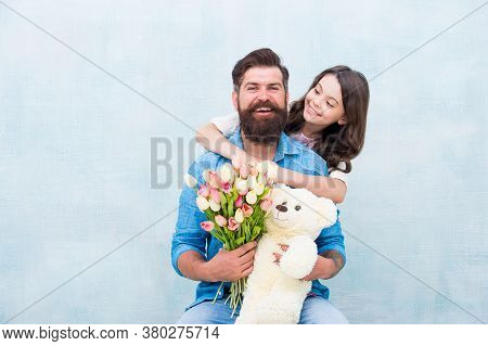 Dad My Heart Belongs To You. Little Daughter Hug Father. Happy Family Celebrate Fathers Day. Small C