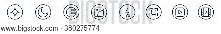 Camera Line Icons. Linear Set. Quality Vector Line Set Such As Video, Play, Camera, Flash Off, Galle