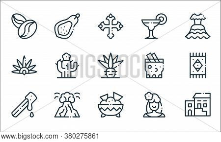 Mexico Line Icons. Linear Set. Quality Vector Line Set Such As Traditional, Nachos, Churro, Mexican
