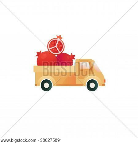 Pomegranate In A Truck Funny Vector Print. Farm Fruit Icons, Delivery Illustration.