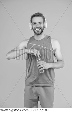 Happy Sportsman Hold Water Bottle. Fitness Trainer. Feeling Thirst. Thirst And Dehydration. Thirst C
