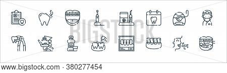 Dental Care Line Icons. Linear Set. Quality Vector Line Set Such As Brushing Teeth, Plaque, Cavities