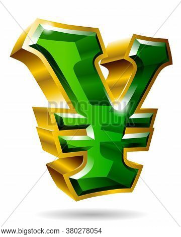 Golden Yen Symbol In 3d Style Isolated On White Background. Vector Illustration.