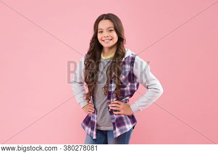 I Love Fashion. Happy Girl With Fashion Look Pink Background. Little Fashionista In Casual Style. Cl