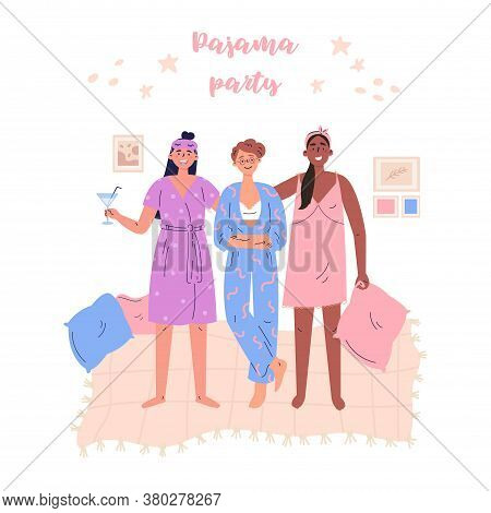 Pajama Party Vector Cartoon Illustration.young Women, Girls, Teenagers Have Fun Together. Poster, Fl