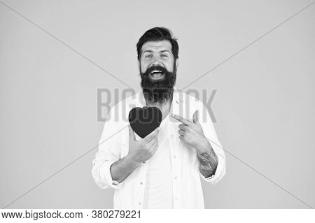 Man Bearded Hipster Hold Red Heart. Prescribe Medication Lower Blood Pressure Cholesterol. Feel Puls