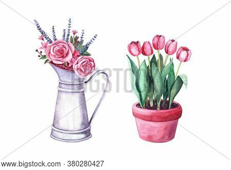 Watercolor Red Tulips In A Pot, Flower Arrangement In A Vintage Metal Pitcher. Isolated Illustration