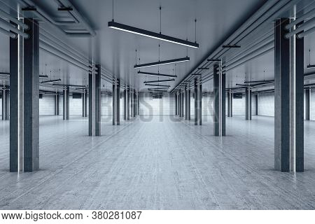 Minimalistic Warehouse Interior With Brick Wall And Columns. Industrial And Exhibition Concept. 3d R