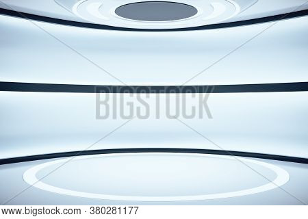 Futuristic Concrete Space Ship Interior With Light. Abstract Tunnel. Future And Design Concept. 3d R