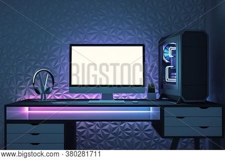 Modern Designer Desktop With Empty White Computer Screen, Headphones, Keyboard And Tablet. Online Ad