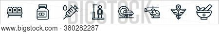 Medical Tools Line Icons. Linear Set. Quality Vector Line Set Such As Mortar, Pharmacy, Helicopter,