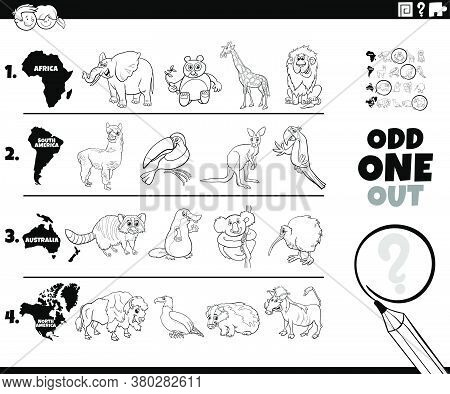 Black And White Cartoon Illustration Of Odd One Oute Picture In A Row Educational Game For Elementar