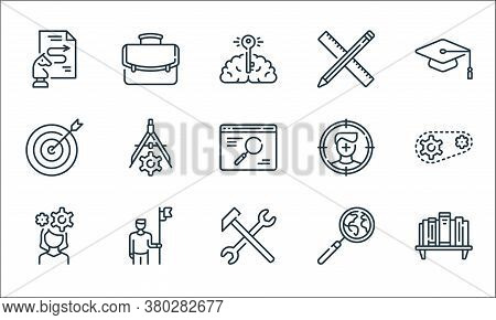 Life Skills Line Icons. Linear Set. Quality Vector Line Set Such As Bookshelf, Hammer, Woman, Magnif