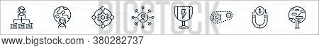 Life Skills Line Icons. Linear Set. Quality Vector Line Set Such As Tree, Magnet, Gears, Trophy, Ski