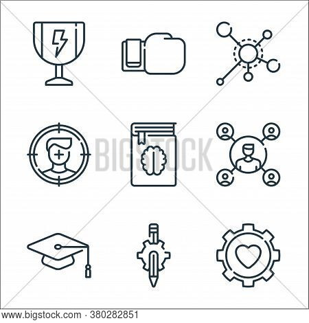 Life Skills Line Icons. Linear Set. Quality Vector Line Set Such As Gear, Gear, Mortarboard, Man, Bo
