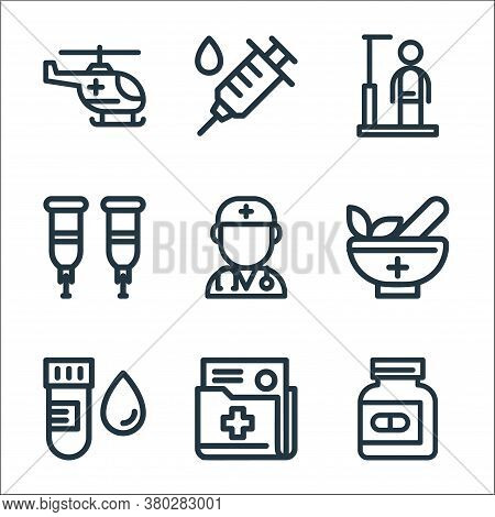 Medical Tools Line Icons. Linear Set. Quality Vector Line Set Such As Pills Bottle, Document, Blood
