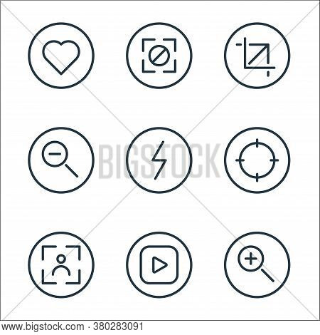 Camera Line Icons. Linear Set. Quality Vector Line Set Such As Zoom In, Play, Camera, Target, Flash,