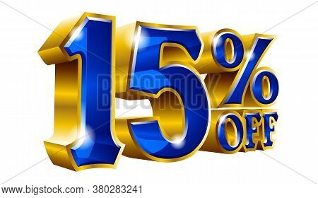 15% Off - Fifteen Percent Off Discount Gold And Blue Sign. Vector Illustration. Special Offer 15 % O