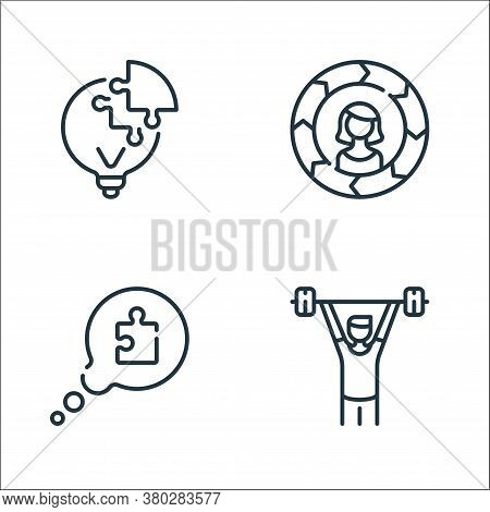 Life Skills Line Icons. Linear Set. Quality Vector Line Set Such As Man, Speech Bubble, Skills