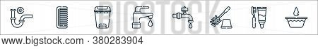 Bathroom Line Icons. Linear Set. Quality Vector Line Set Such As Bucket, Dental Care, Toilet Brush,