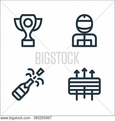 Auto Racing Line Icons. Linear Set. Quality Vector Line Set Such As Air Filter, Champagne, Racer