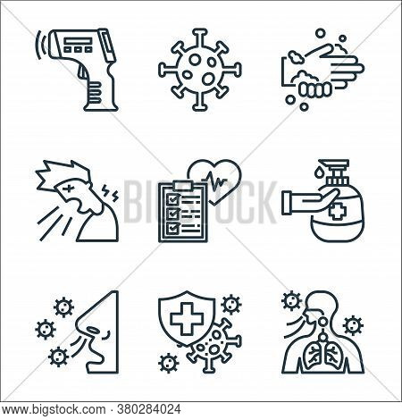 Coronavirus Line Icons. Linear Set. Quality Vector Line Set Such As Breathing, Insurance, Breathing,