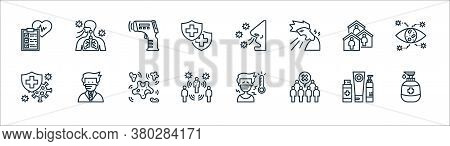 Coronavirus Line Icons. Linear Set. Quality Vector Line Set Such As Hand Soap, Crowd, Spreading, Ins