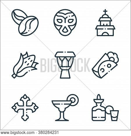 Mexico Line Icons. Linear Set. Quality Vector Line Set Such As Tequila, Margarita, Cross, Burrito, D