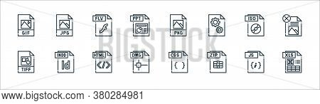 File Type Line Icons. Linear Set. Quality Vector Line Set Such As Xls File, Zip File, Dwg Tiff, Iso