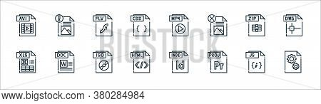 File Type Line Icons. Linear Set. Quality Vector Line Set Such As Dll File, File, Html Xls Zip Flv M