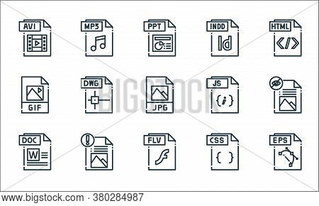 File Type Line Icons. Linear Set. Quality Vector Line Set Such As Eps File, Flv File, Doc Css Gif Js