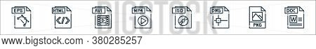 File Type Line Icons. Linear Set. Quality Vector Line Set Such As Doc File, Png File, Dwg Iso Mp Avi