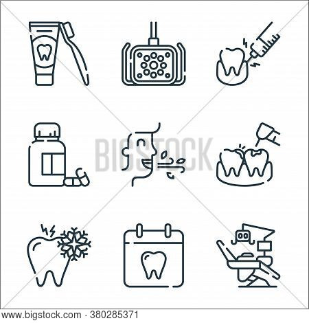 Dental Care Line Icons. Linear Set. Quality Vector Line Set Such As Dentist Chair, Dentist, Sensitiv
