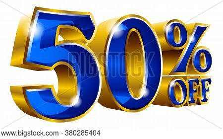 50% Off - Fifty Percent Off Discount Gold And Blue Sign. Vector Illustration. Special Offer 50 % Off