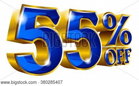 55% Off - Fifty Five Percent Off Discount Gold And Blue Sign. Vector Illustration. Special Offer 55