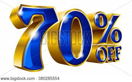 70% Off - Seventy Percent Off Discount Gold And Blue Sign. Vector Illustration. Special Offer 70 % O