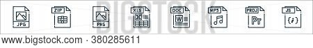 File Type Line Icons. Linear Set. Quality Vector Line Set Such As Js File, File, Mp Doc Xls Png Zip
