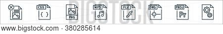File Type Line Icons. Linear Set. Quality Vector Line Set Such As Dll File, File, Dwg Flv Mp Png Css