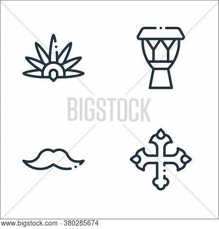 Mexico Line Icons. Linear Set. Quality Vector Line Set Such As Cross, Moustache, Drum