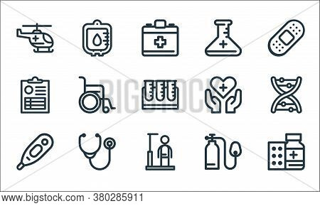 Medical Tools Line Icons. Linear Set. Quality Vector Line Set Such As Medicine Drug, Height, Thermom