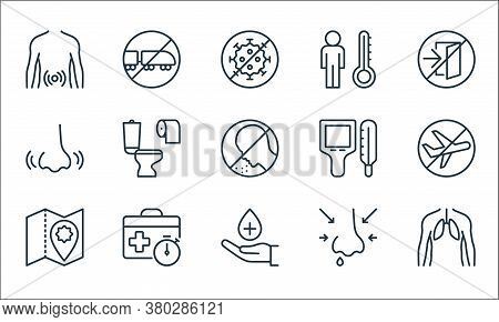 Stop Virus Line Icons. Linear Set. Quality Vector Line Set Such As Human Lungs, Sanitizer, Map, Runn