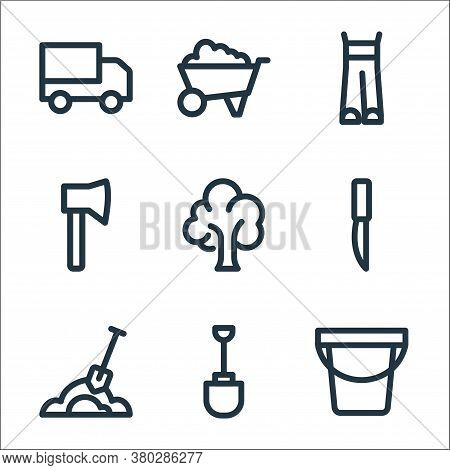 Landscaping Equipment Line Icons. Linear Set. Quality Vector Line Set Such As Water Bucket, Shovel,