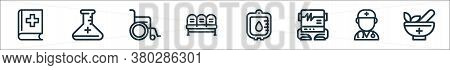 Medical Tools Line Icons. Linear Set. Quality Vector Line Set Such As Mortar, Doctor, Electrocardiog