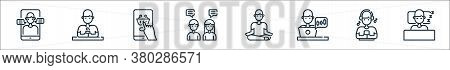 Stay At Home Line Icons. Linear Set. Quality Vector Line Set Such As Human Sleeping, Listening, Trad