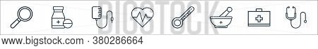 Medical Tools Line Icons. Linear Set. Quality Vector Line Set Such As Stethoscope, First Aid Kit, Mo