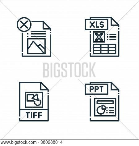 File Type Line Icons. Linear Set. Quality Vector Line Set Such As Ppt File, Tiff, Xls File