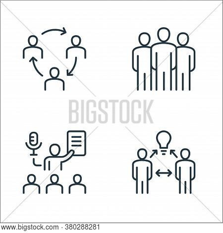 Leadership Line Icons. Linear Set. Quality Vector Line Set Such As Brainstorming, Coaching, Leadersh