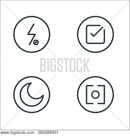 Camera Line Icons. Linear Set. Quality Vector Line Set Such As Lens, Night Mode, Check