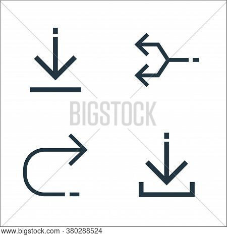 Arrows Line Icons. Linear Set. Quality Vector Line Set Such As Direct Download, Returning, Junction